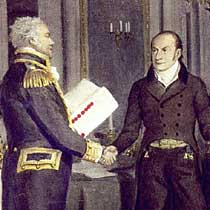 The chief negotiators at Ghent, Britain's Fleet Admiral Lord James Gambier (left) and the United States' John Quincy Adams (right). Detail from a painting in the Smithsonian American Art Museum.