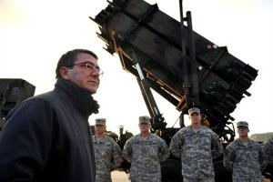 Then-Deputy Defense Secretary Ashton B. Carter speaks to U.S. troops before a Patriot missile battery at a Turkish army base in 2013. (Defense Dept. photo by Glenn Fawcett)