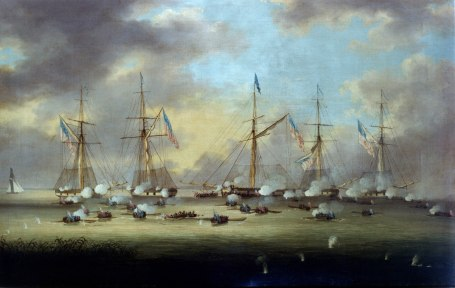 U.S. Navy gunboats battle scores of oar-powered Royal Navy barges on Lake Borgne, Louisiana. Painting by  Thomas Horbrook courtesy of U.S. Naval Academy via Wikipedia.