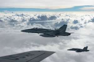 Royal Canadian Air Force CF-18 Hornets depart after refueling with a KC-135 Stratotanker aircraft over Iraq, Oct. 30, 2014. (U.S. Air Force photo by Staff Sgt. Perry Aston)