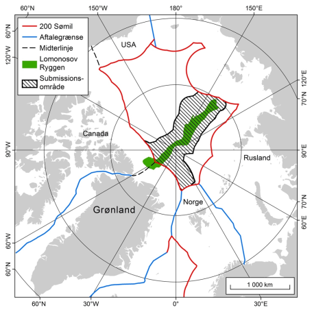 Map of Denmark's polar claim (black lines) and the Lomonosov Ridge in green. (Map courtesy of Kingdom of Denmark)