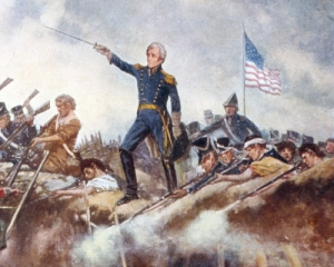 Detail from a 1910 painting of  Andrew Jackson at the Battle of New Orleans (Library of Congress)