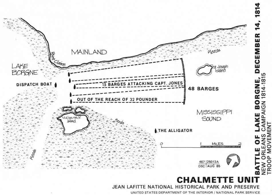 Map Of Battle Of Lake Borgne Courtesy Of National Park Service