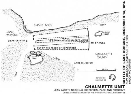Map of Battle of Lake Borgne (Courtesy of National Park Service)