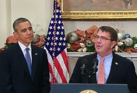 President Barack Obama introduces Ashton Carter as his nominee to be the next Secretary of Defense Friday (Dec. 5)