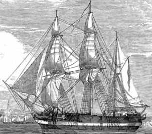 HMS Erebus a British bomb vessel similar to the ones used against Fort Saint Philip, Louisiana after the Battle of New Orleans. (via wikipedia)