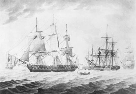 USS President after her capture by the HMS Endymion and two other Royal Navy frigates.