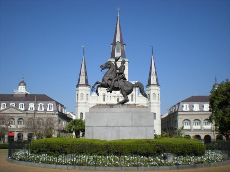 Equestrian statue of Andrew Jackson in front of St. Louis Cathedral at Jackson Square, New Orleans. (Photo by Sami99tr via Wikipedia)