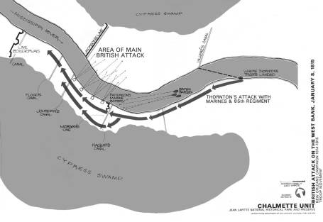British attack on west side of Mississippi River. (National Park Service)