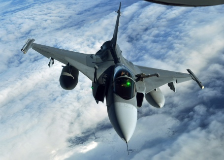A Swedish JAS-39 Gripen during a flight exercise in 2013. (U.S. Air Force photo by 1st Lt. Christopher Mesnard)