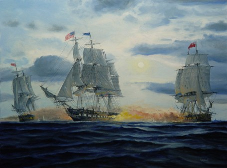 USS Constitution takes on HM Cyane and HMS Levant. (usconstitutionmuseum.org)