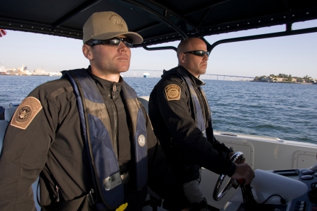 """""""Essential"""" Homeland Security Department officers, like these Customs marine officers in San Diego Bay won't have to work without pay now that Congress has approved a funding bill. (Customs and Border Protection photo)"""