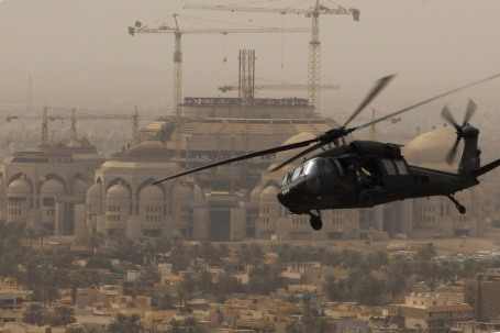 A UH-60 Black Hawk from the 1st Battalion 244th Assault elicopter Battalion, Louisiana National Guard,  flies over a mosque in Baghdad in February 2009. (U.S. Army photo)