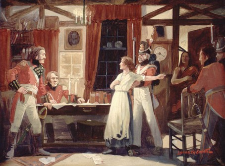 Laura Secord warns Lieutenant Fitzgibbons of impending U.S. attack. (Courtesy Libraries and Archives Canada)