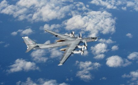 A Russian bomber photographed from a Royal Air Force jet off the coast of Britain in October 2014.  (Sac Robyn Stewart/British Ministry of Defence photo)