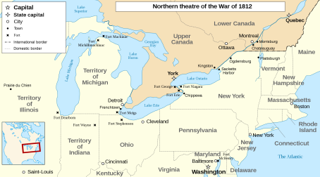 (War of 1812 map via wikipedia) Click on Image to enlarge
