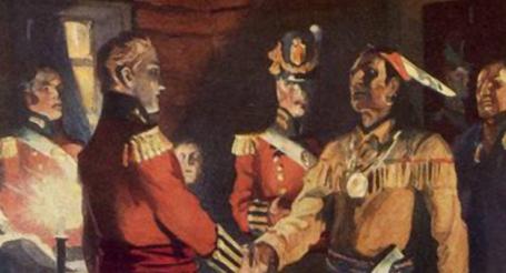 Major General Isaac Brock meets Tecumseh. (Historica Canada and Parks Canada)