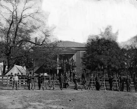 Union soldiers at the courthouse in April 1865 (Photo by Timothy O'Sullivan via wikipedia)