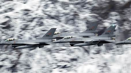 Norwegian F-16 fighter jets during Exercise Cold Response in 2014. (Photo by Torbjorn Kjosvold, Norwegian Armed Forces) CLICK ON PHOTO TO ENLARGE IMAGE