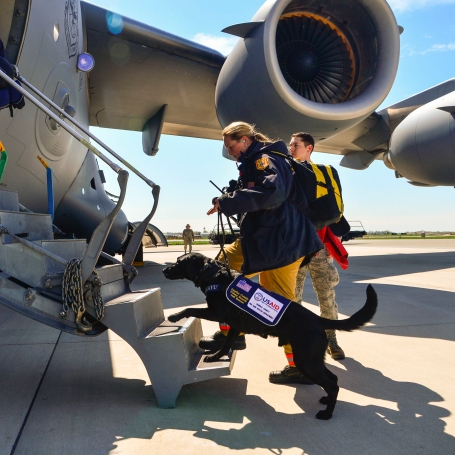 Jennifer Massey, Fairfax County Urban Search and Rescue K-9 search specialist, Fairfax, Va., and her K-9, Phayu, board a U.S. Air Force C-17 Globemaster III at Dover Air Force Base, Del., April 26, 2015. Massey and Phayu are part of a 69-person search and rescue team deploying to Nepal to assist in rescue operations after the country was struck by a 7.8-magnitude earthquake.  (U.S. Air Force photo by Airman 1st Class William Johnson)