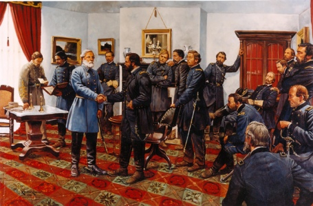 """The Surrender"" by Keith Rocco shows the known officers that were present for at least a portion of the meeting in the McLean Parlor, April 9, 1865. Photo National Park Service)"