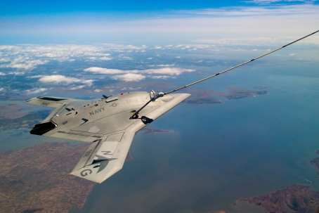 X-47B successfully completes the first autonomous aerial refueling demonstration over the Chesapeake bay on April 21.  (Photo courtesy of U.S. Navy)
