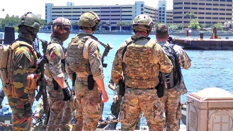 Multi-national special operations forces participated in an outdoor demonstration at last year's SOFIC in Tampa. (4GWAR photo by John M. Doyle)