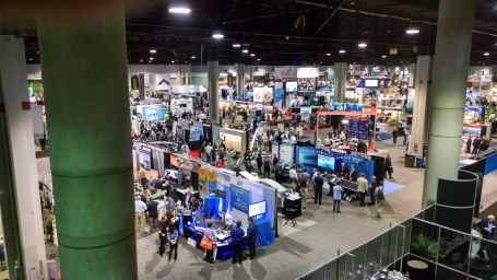 A busy corner of Unmanned Systems 2015's exhibit hall. (4GWAR photo by John M. Doyle)