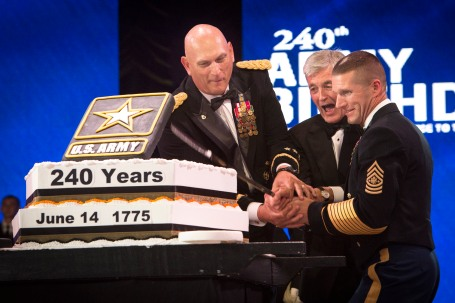 Army Secretary John McHugh, U.S. Army Chief of Staff General Ray Odierno, and Sergeant Major of the Army Daniel A. Dailey, cut the Army Birthday cake during the 2015 Army Ball in Washington D.C., June 13, 2015. (U.S. Army photo by John G. Martinez)