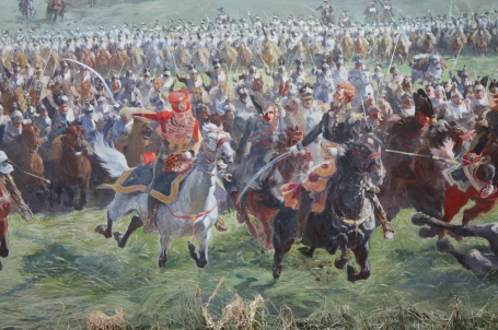 Marshall Ney and his staff leading the cavalry charge at Waterloo (Painting by Louis Dumoulin)