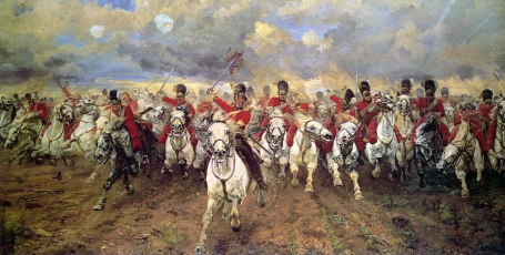 Scotland Forever! Iconic 1881 British painting of the charge of the Royal Scots Greys at Waterloo by Lady Butler.