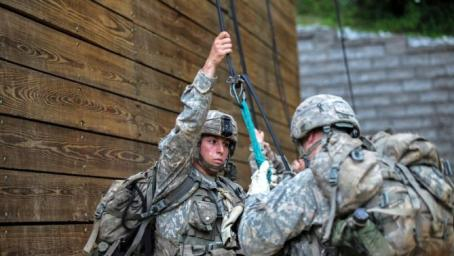 Army 1st Lt. Shaye Haver was one of the first two women to complete the Army Ranger course and earn the coveted RANGER shoulder tab. (U.S. Army photo)