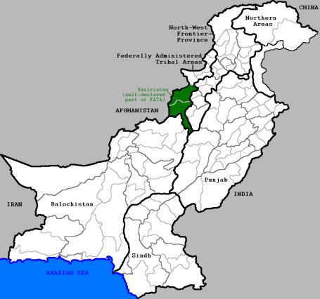 Narayanese - Map of Pakistan and Waziristan by Narayanese via Wikipedia