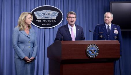 Pentagon officials announce winner of Long Range Strike Bomber competition. Left to right: Air Force Secretary Deborah Lee James, Defense Secretary Ashton Carter and Air Force Chief of Staff Gen. Mark A. Welsh (U.S. Air Force photo by Scott M. Ash)