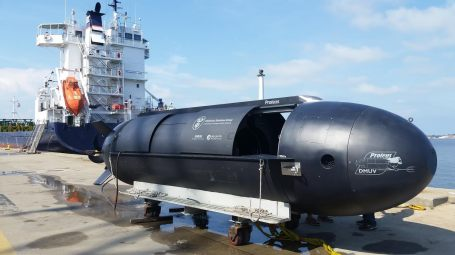 Battelle and Huntington Ingalls Industries' Proteus submersible is a dual mode underwater vehicle. The battery-powered 8,240-pound craft can transport up to 3,600 pounds of cargo autonomously from the dry deck shelter of a submarine to shore. (Photo courtesy Batelle)