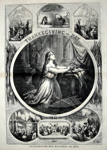 Thanksgiving Day 1863 as envisioned in Harper's Weekly.