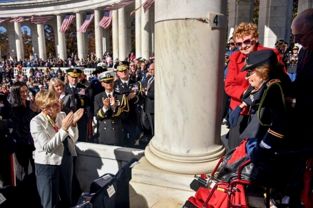 U.S. Army retired Lt. Col. Luta C. McGrath -- the oldest living U.S. veteran -- is honored during a Veterans Day ceremony near the Tomb of the Unknowns in Arlington National Cemetery Nov. 11, 2016. (U.S. Coast Guard photo by Petty Officer 2nd Class Patrick Kelley)