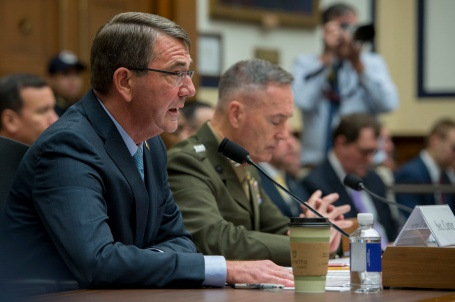 Defense Secretary Ash Carter, foreground, and Marine Corps Gen. Joseph F. Dunford Jr., chairman of the Joint Chiefs of Staff, testify before the House Armed Services Committee about U.S. strategy for Syria and Iraq. (Defense Dept. photo by Air Force Senior Master Sgt. Adrian Cadiz)