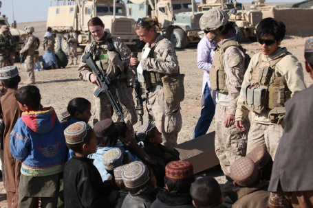 Members of the female engagement team assigned to 3rd Battalion, 25th Marine Regiment teach a hygiene class to children at a village medical outreach in Boldak, Afghanistan, Nov. 22, 2010.   (U.S. Marine Corps photo by Lance Corporal Marionne T. Mangrum)