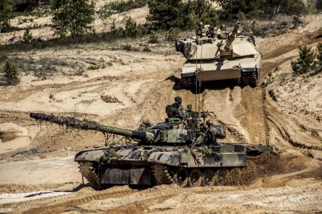 Polish US tanks in Latvia Exercise.
