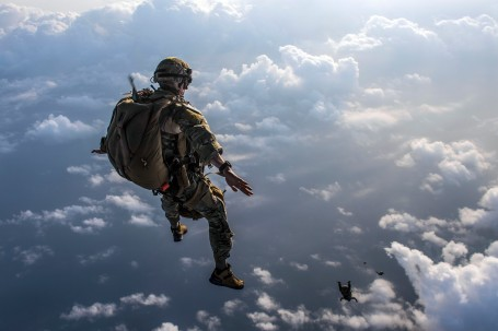 Pararescue Airmen practice military free fall