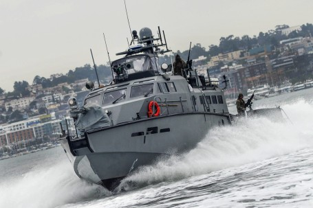 CRS 3 Mark VI Patrol Boats Underway during UAV Training Exercise