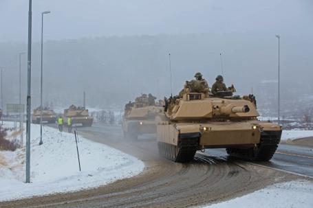 U.S. Marines with 2nd Tank Battalion travel