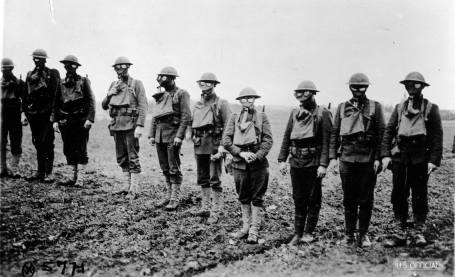 Marines in gas masks