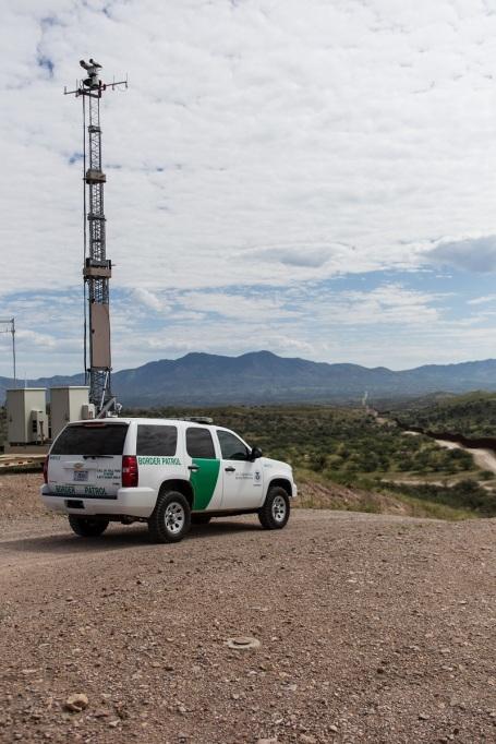 BP SUV watches the border along Mexico. A mobile surveillance to