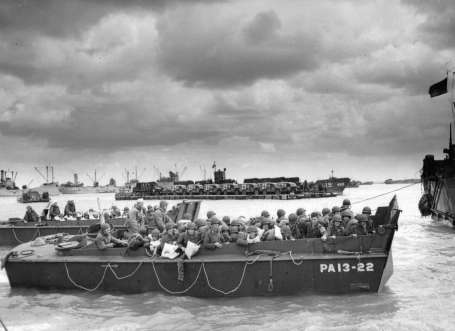 Higgins Boat LCVP at Normandy photo from NARA